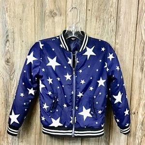 Forever 21 Girls blue coat with stars